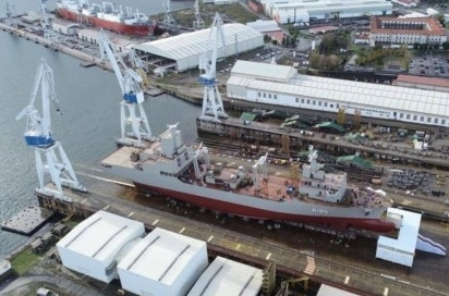 Siasa work on a newly built ship (AOR) for the Royal